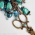 Bag Charm Scissors Antique Copper Crystal and Glass Beaded, Blue, Aqua