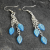Dangle Earrings Aqua Blue Iridescent Czech Glass on Silver Plated Earwires