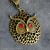 Owl Pendant Necklace Antique Bronze, Austrian Crystal Red Eyes