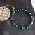 Glass and Crystal Memory Wire Bracelet - Aqua