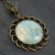 Pendant Necklace, Antique Bronze Setting, Abstract Print, Aqua, Cream, Unique Piece