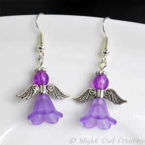 Angel Earrings - Lilac Beaded on Silver Plated Earwires
