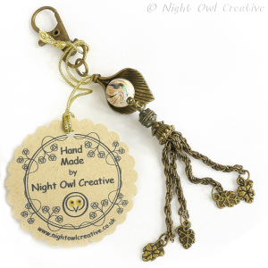 Clip-on Bag Charm - Antique Bronze Beaded Tassel