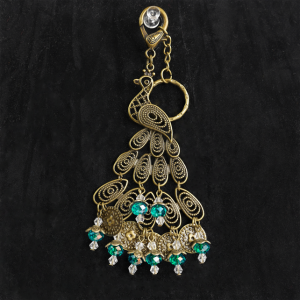 Peacock Bag Charm/Keyring Antique Bronze Crystal Beaded Peacock Green