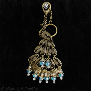 Peacock Bag Charm/Keyring Antique Bronze Crystal Beaded, Turquoise