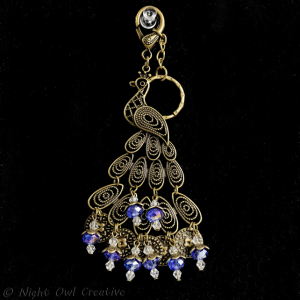 Peacock Bag Charm/Keyring Antique Bronze Crystal Beaded, Blue Violet AB