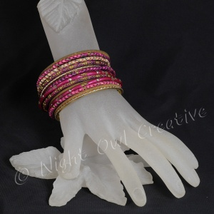 Ethnic Bangle Set Dark Pink Gold - Size Small to Medium