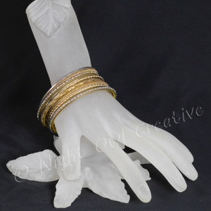 Ethnic Bangle Set Gold Tone Jewelled - Size SMALL