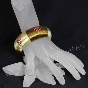 Handcrafted Ethnic Bangle Silk Raffia Gold Bronze
