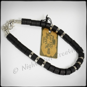 ''For the Boys'' Bracelet Black and Silvertone FB020