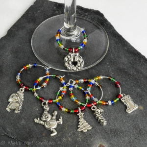 Wine Glass Charms, Drink Marker, Christmas, Beaded, Set of 6