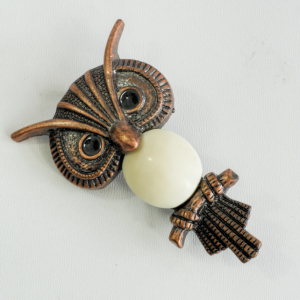 Owl Brooch Pin, Coppertone with Cream