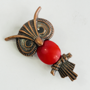 Owl Brooch Pin, Coppertone with Red