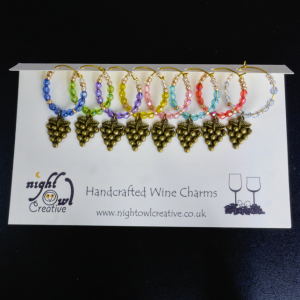 Wine Glass Charms, Drink Marker, Antique Bronze Grapes, Beaded, Set of 8 Colours