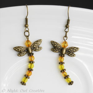 Dragonfly Earrings - Bronze, Topaz and Yellow