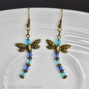 Dragonfly Earrings - Bronze, Blue and Aqua
