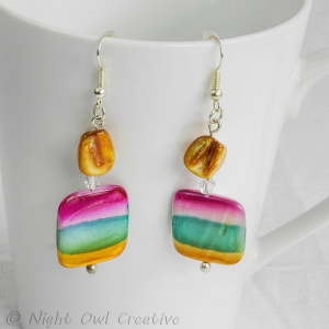 Natural Shell Earrings, Handmade, Teal, Pink, Golden Yellow, Silver Plated Fittings