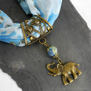 Antique Bronze Hand-crafted Scarf Ring Pendant, Elephant with Blue Mosaic Beading