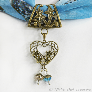 Hand-crafted Scarf Ring, Filigree Valentine Heart Slider Pendant, Crystal Beaded