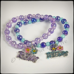 Girls Beaded ''Friends'' Stretch Bangles with Charm - Blue Lilac