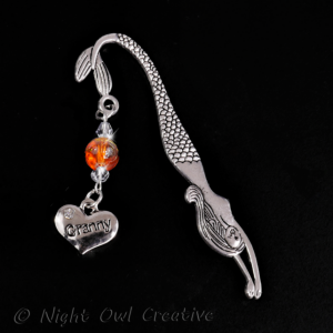 Granny Bookmark - Mermaid - Amber Glass Beaded - Crystals - Antique Silver Tone