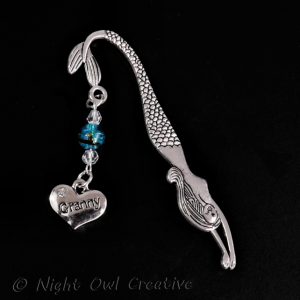 Granny Bookmark - Mermaid - Peacock Blue Glass Beaded - Crystals - Antique Silver Tone
