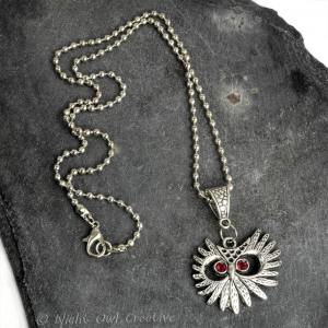 Owl Pendant Necklace Silver Tone, Austrian Crystal Red Eyes