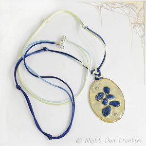 Hand Painted Necklace Cream Blue Ivory on Silken Knotted Cord