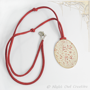Hand Painted Necklace Cream Red Ivory on Suede Cord
