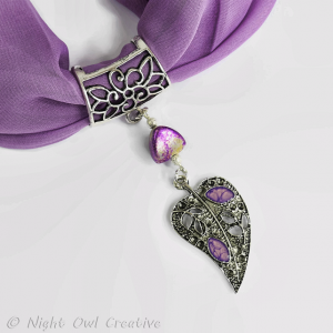 Hand-Painted Scarf Ring Pendant, Beaded, Lilac, Silver Stardust