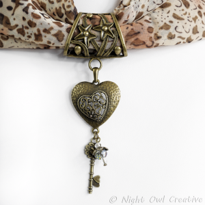 Hand-crafted Scarf Ring. Key to my Heart Slider Pendant, Valentine Heart, Crystal Beaded Charm