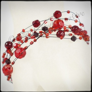 Illusion Beaded Bracelet - Gunmetal and Dark Red