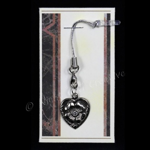 Jewelled Heart Mobile Phone Charm for Smartphone, iPhone, Samsung, HTC etc