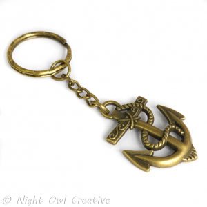 Anchor Key Ring, Key Chain - Antique Bronze Metal