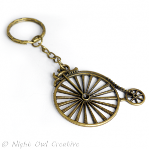Key Ring, Key Chain - Penny Farthing Bicycle - Antique Bronze Metal