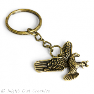 Eagle Key Ring, Key Chain - Antique Bronze Metal
