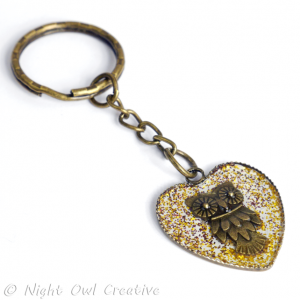 Keyring - Owl Loveheart Antique Bronze set in Crystal Resin