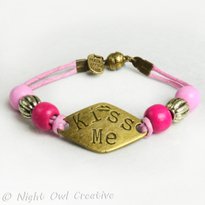 Cord Bracelet Wood Beads, Kiss Me, Pink, Hot Pink, Magnetic Clasp
