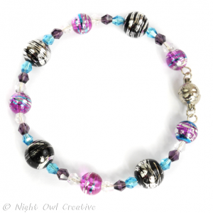 Glass and Crystal Memory Wire Bracelet - Black Fuchsia