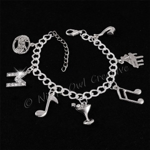 Personalised Music & Martini Silver Plated 7-Charm Bracelet