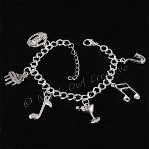 Music & Martini Silver Plated 6-Charm Bracelet