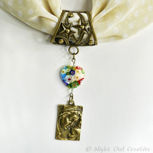 Hand-crafted Scarf Ring Pendant, Mother and Child, Millefiori Glass Heart