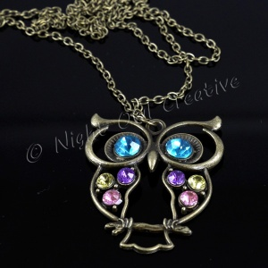 Owl Jewelled Pendant Necklace Antique Bronze