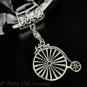 Hand-crafted Scarf Ring, Pendant Slider, Silver Tone Penny Farthing Bicycle