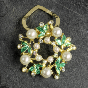 Scarf Clip Gold Tone Green Enamel Pearl Crystal Statement Piece