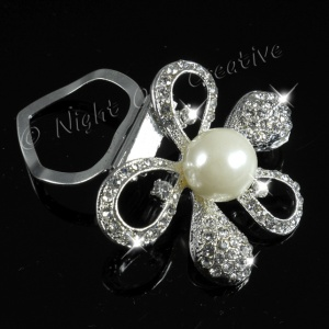 Bow Knot  Scarf Clip, Ring, Sparkling Crystal with Pearls