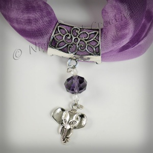 Hand-crafted Scarf Ring, Pendant Slider, Elephant with Crystal Beading