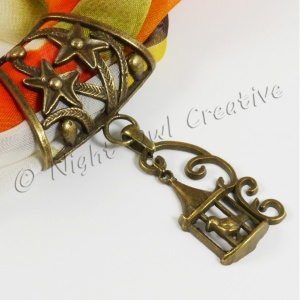 Scarf Ring Pendant Slider, Antique Bronze Birdcage