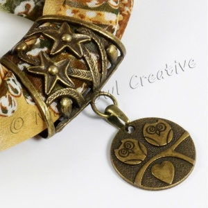 Scarf Ring Pendant, Antique Bronze Owls