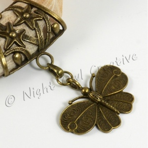 Scarf Ring Pendant Slider, Antique Bronze Butterfly